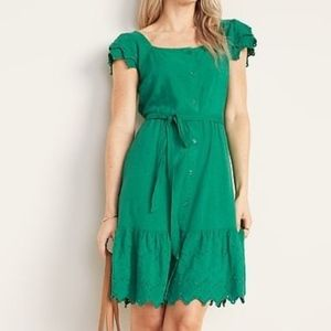 Green Embroidered Eyelet Tie-Belt Dress